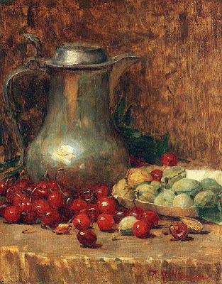 Still Life painting by Willie Betty Newman. Pewter Pitcher and Cherries