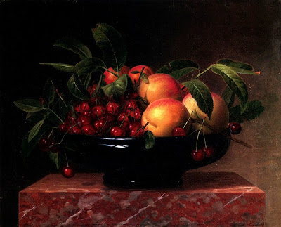 Still Life painting by William Hammer. Peaches and Cherries in a Bowl on a Marble Ledge