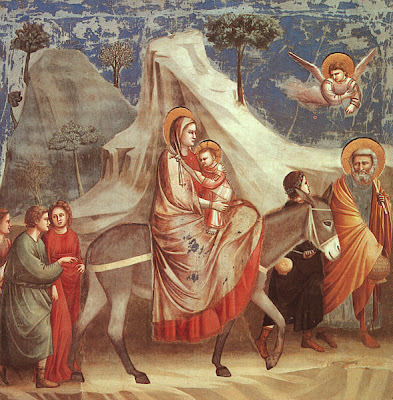 Scenes from the Life of the Virgin. The Flight into Egypt, 1304-13, by Giotto