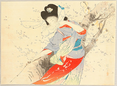 Japanese Artist Kiyokata Kaburagi. Flower Wind