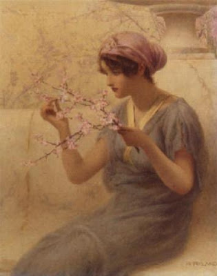 Spring Bloom in Painting. Henry Ryland, Almond Blossom