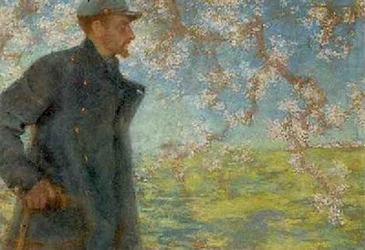 Spring Bloom in Painting. Lucien Levy-Dhurmer, A French Soldier Under A Blossom Tree