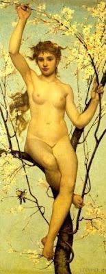 Spring Bloom in Painting. Laurent Joseph Daniel Bouvier, Spring