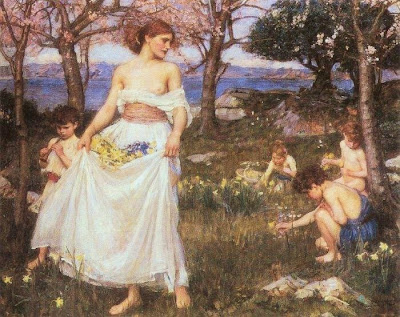 Spring Bloom in Painting. John William Waterhouse, A Song of Springtime