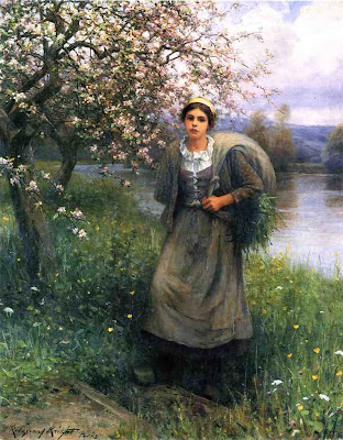 Spring Bloom in Painting. Daniel Ridgway Knight, Apple Blossoms in Normandy