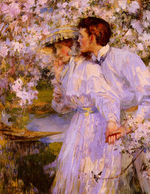 Spring Bloom in Painting. James Jebusa Shannon. In the Springtime