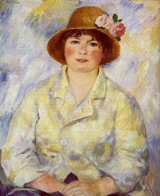 Painting by Pierre-Auguste Renoir Aline Charigot(future Madame Renoir), 1885