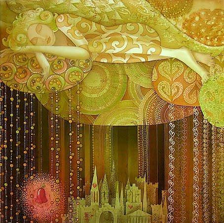 Batik Painting by E Vedernikova Russian Artist