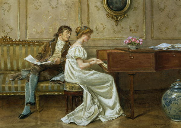 Women and Music in Painting 16-18th c, George Goodwin Kilburne The New Spinet