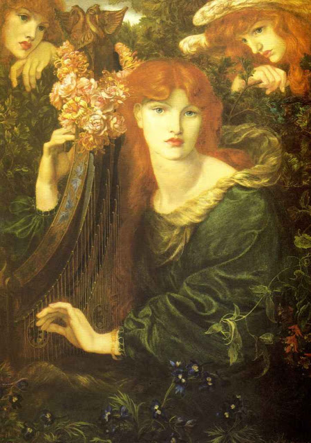 Women and Music in Painting 16-18th c,Dante Gabriel Rossetti, La Ghirlandata
