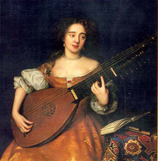 Women and Music in Painting 16-18th c, John Michael Wrigh, Lady with a Theorbo