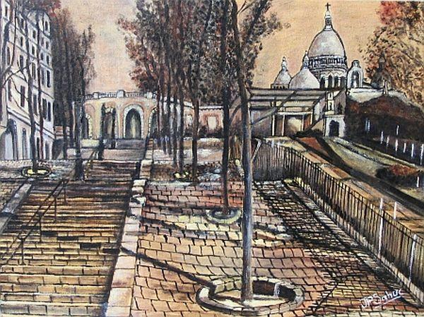 Jean Pierre Sahuc. Sacre Coeur in Painting