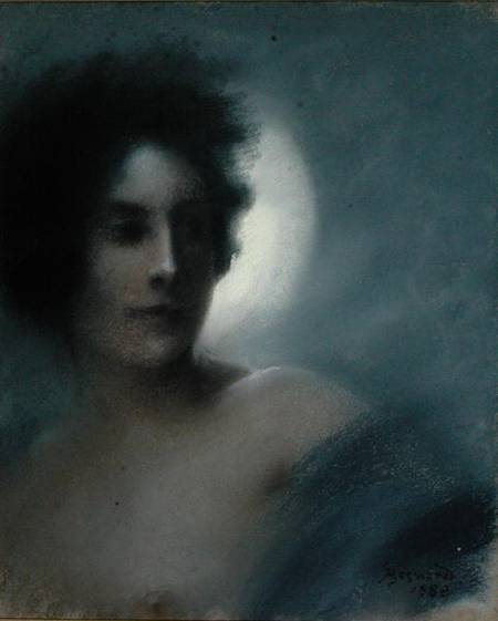 Paul Albert Besnard,Landscape oil painting,figurative painting,moon in painting