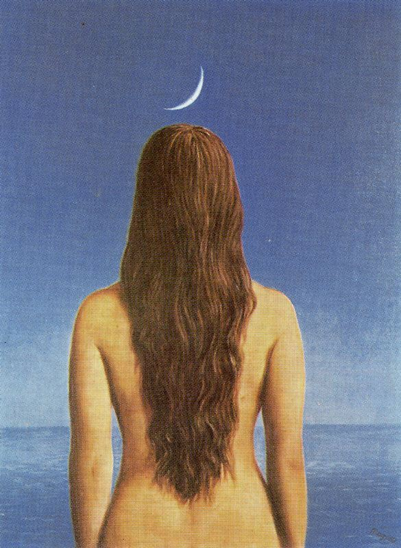 René Magritte,Landscape oil painting,figurative painting,moon in painting