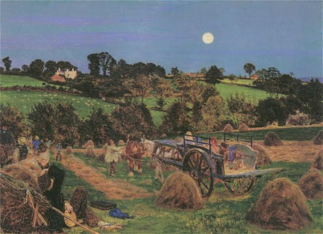 Painting by Ford Madox Brown,Landscape oil painting,figurative painting,moon in painting