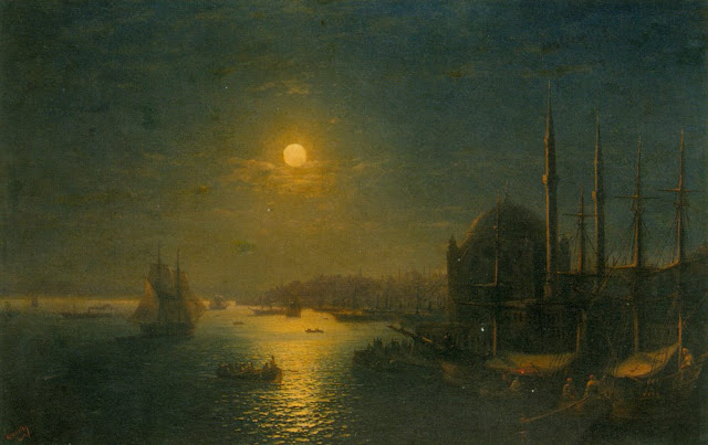 Painting by Ivan Aivazovsky,Landscape oil painting,figurative painting,moon in painting