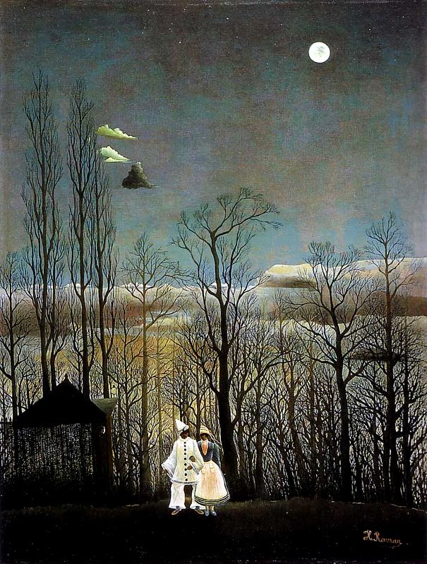 Painting by Henri Rousseau,Landscape oil painting,figurative painting,moon in painting
