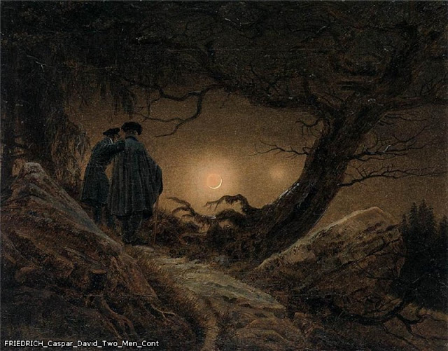 Painting by Caspar David Friedrich,Landscape oil painting,figurative painting,moon in painting