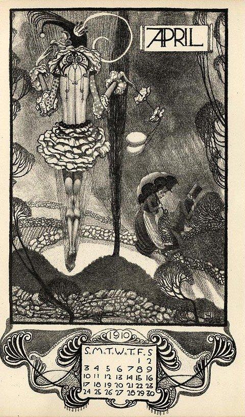 Arcadian Calendar for 1910, Illustration by Vernon Hill