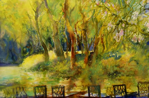 Ivan Dodov, Contemporary Bulgarian Artist, watercolor landscapes, Spring