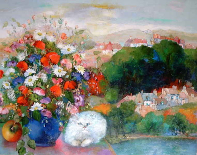 Maurille Prevost.  Bouquet and a White Cat