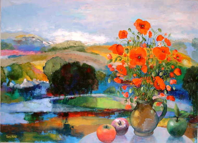 Maurille Prevost. French painter, french artist of 20th century. Poppies