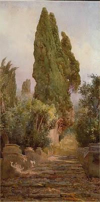 Ettore Roesler Franz. Villa d'Este Watercolor