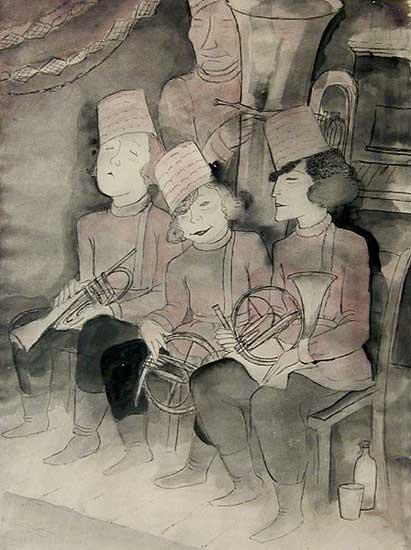 Jeanne Mammen, German artist,Weimar era artist, graphics, Russian Women Orchestra, c1929