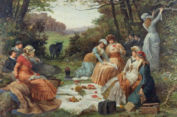 V.Chavigny. Picnic, Summer Day in the Countryside. Summer Themed Oil Paintings