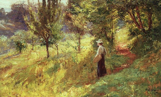 Theodore Clement Steele. Berry Picker, 1894, Summer Day in the Countryside. Summer Themed Oil Paintings