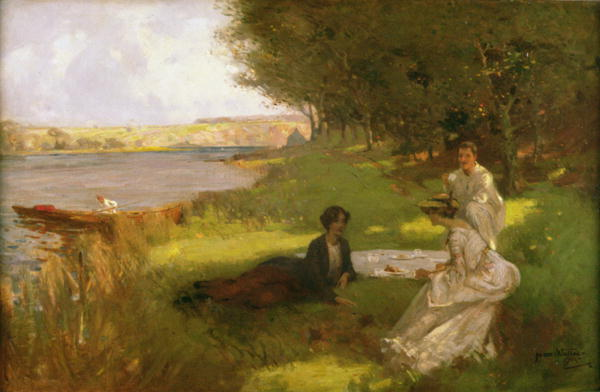 James Wallace. Picnic, Summer Day in the Countryside. Summer Themed Oil Paintings