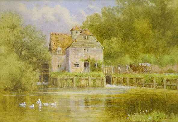 Frederick George Coleridge. Maple Durham Mill,Summer Day in the Countryside. Summer Themed Oil Paintings