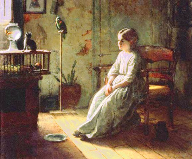 Jonathan Eastman Johnson Painting, Goldfish in Painting