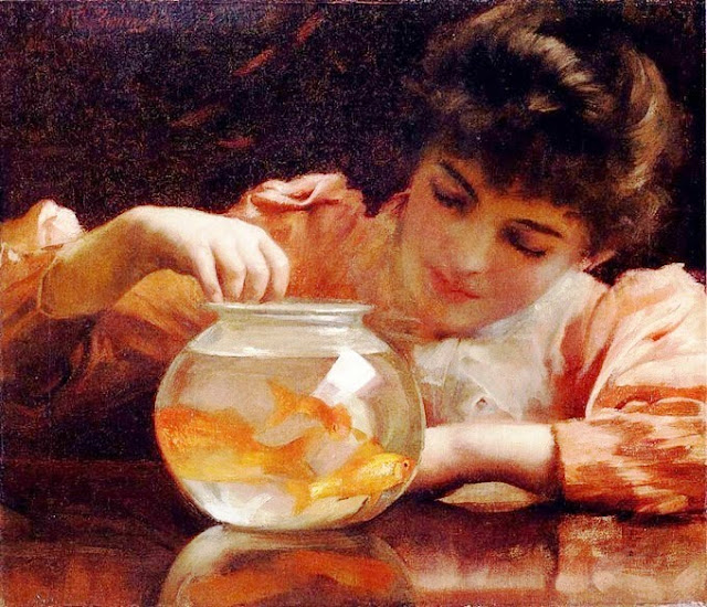 Thomas Benjamin Kennington painting, Goldfish in Painting