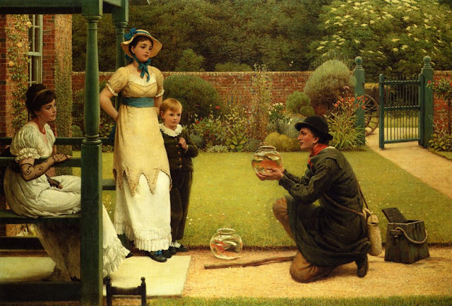 George Dunlop Leslie Painting,Goldfish in Painting,The Goldfish Seller