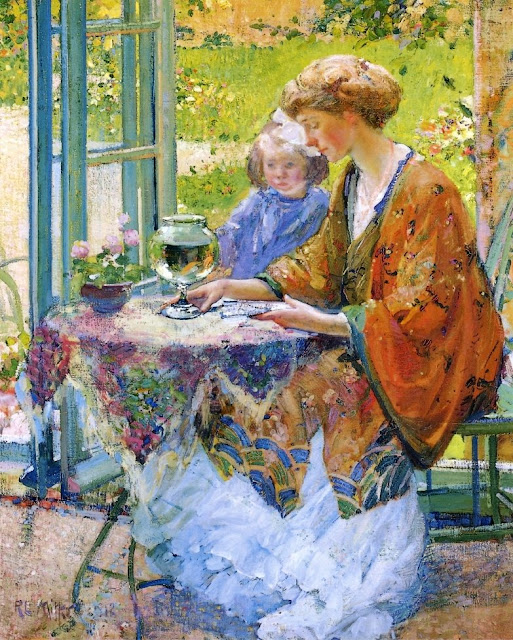 Goldfish in Painting,Richard Edward Miller, goldfish 1912