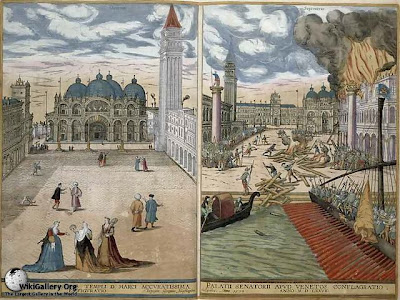 Joris Hoefnagel. View of San Marco and the Palazzo Ducale on fire
