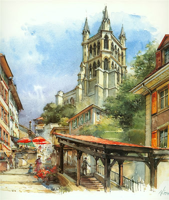 Detlev Nitschke. Watercolors. Lausanne, Switzerland