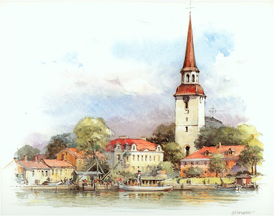 Detlev Nitschke. Watercolor. Marielyst, Sweden