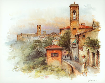 Detlev Nitschke. Watercolor. Colle de Val D'Elsa, Tuscany, Italy