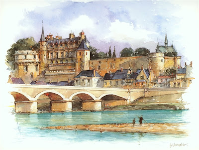Detlev Nitschke. Watercolor. Castle Amboise-sur-Loire, France