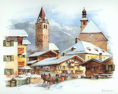 Detlev Nitschke. Watercolor. Kitzbuhel, Austria