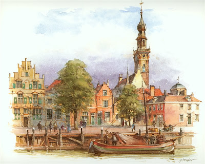 Detlev Nitschke. Watercolor. Valheren, Netherlands