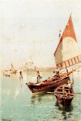 Franz Richard Unterberger. Sailboat In a Venetian Lago