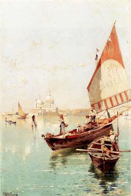 Franz Richard Unterberger. Sailboat In a Venetian Lago