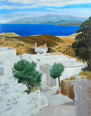 Oil Painting by French Artist Georges Blouin. Villages of Lefkes Isles of Paros