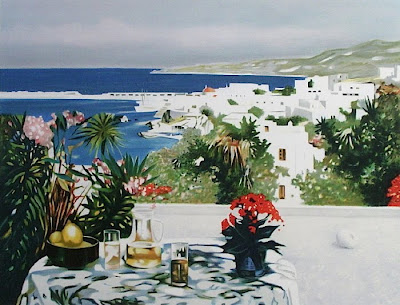 Oil Painting by French Artist Georges Blouin. Lemonade on the Terrace