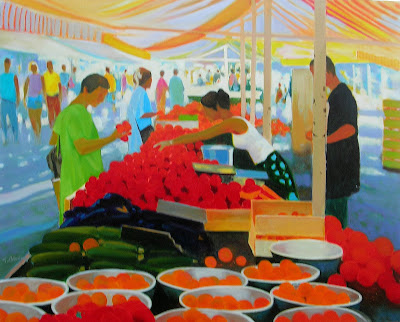 Oil Painting by Georges Blouin. The Flowers and Fruit Market