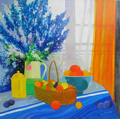 Painting by Georges Blouin. Delphiniums