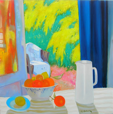 Painting by Georges Blouin. An Open Window and Mimosa